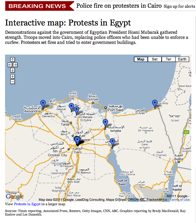 Crisis Mapping Egypt Collection Of Protest Maps Updated - Egypt interactive map