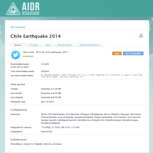 AIDR - Chile Earthquake 2014