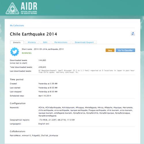 AIDR - Chile Earthquake 2014
